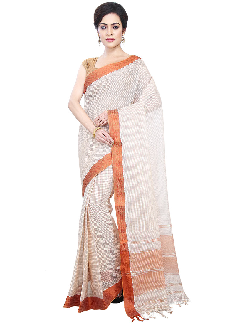 994c2c3db5 Buy Off White Cotton Tant Saree, Handloom, sari Online Shopping ...
