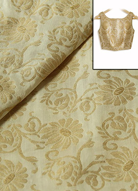 Off White Cotton With Gold Floral Weave Blouse Material