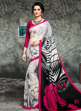 off White Crepe Saree