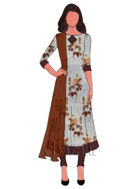 Off White Digital Printed Chanderi Cotton Anarkali Suit