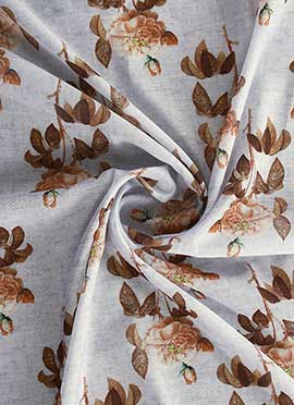 Off White Digital Printed Chanderi Cotton Fabric
