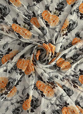 Off White Digital Printed Georgette Fabric