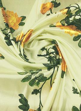 Off White Digital Printed Taffeta Fabric