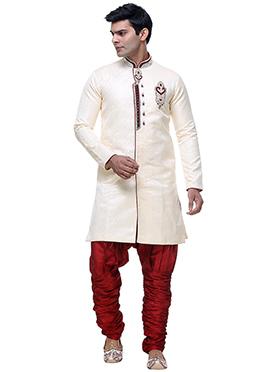 Off White Dupion Silk Breeches Sherwani