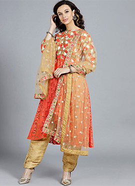 Off white embroider with beige anarkali set