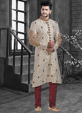 Off White Embroidered Achkan Sherwani