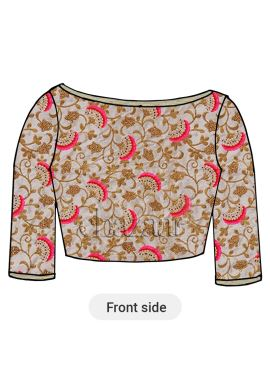 Off White Embroidered Art Silk Blouse
