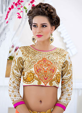 Cream Embroidered Art Silk Blouse