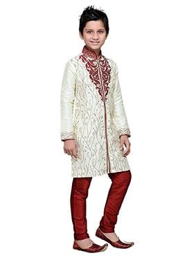 Off White Embroidered Art Silk Boys Kurta Pyjama