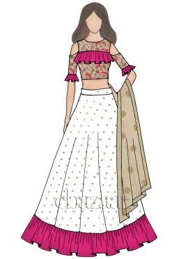 Off White Embroidered Art Silk Flared Style Lehenga
