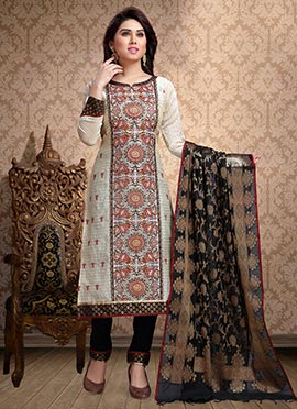 Off White Embroidered Churidar Suit