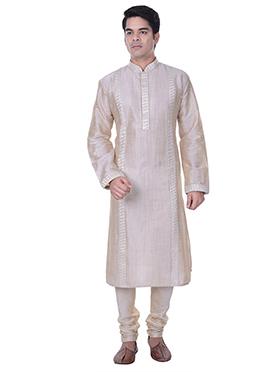Off White Embroidered Kurta Pyjama