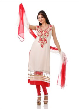Off White Embroidered Plus Size Kurti