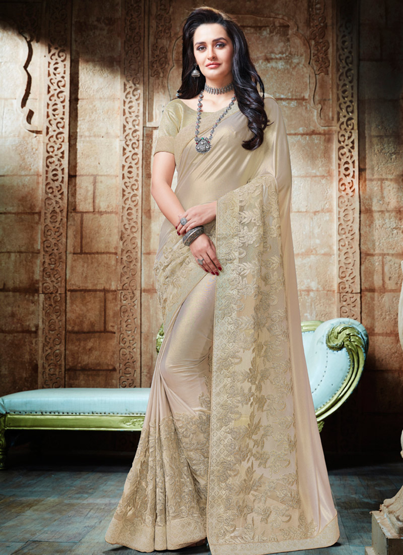 Buy Off White Embroidered Saree Embroidered Sari Online Shopping