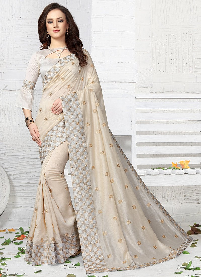 11b3660895 Buy Off White Embroidered Saree, Embroidered, sari Online Shopping ...