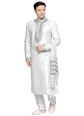 Off White Foliage Prem Ratan Kurta Pyjama