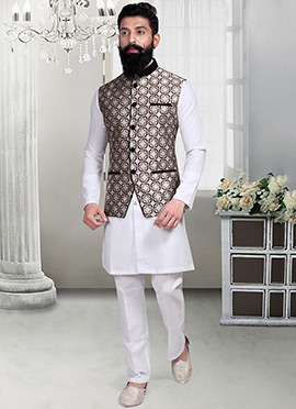 Off White Geometric Designed Jacquard Nehru Jacket