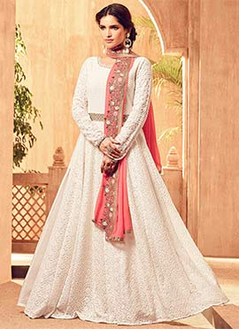 Off White Georgette Abaya Style Anarkali Suit