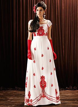 Off White Georgette Anarkali Gown