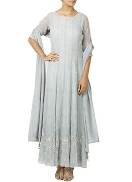 Off White Georgette Anarkali Suit