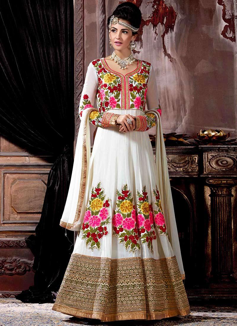 f0d89b0609 Buy Off White Georgette Anarkali Suit, Stones , Embroidered, anarkali ...