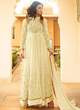 Off White Georgette Anarkalli Suit