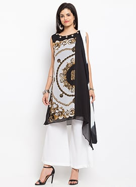 Off White Georgette Asymmetrical Palazzo Suit