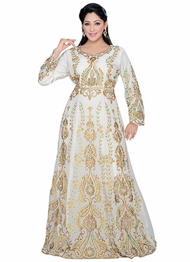 Off White Georgette Embellished Fustan