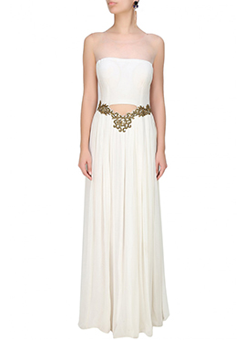Off White Georgette Gown