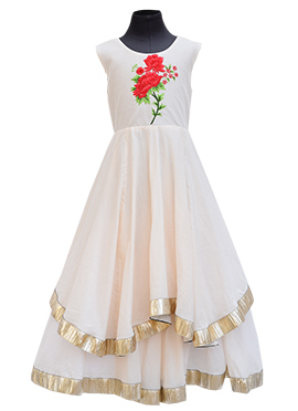 Fayon Off White Georgette Kids Gown