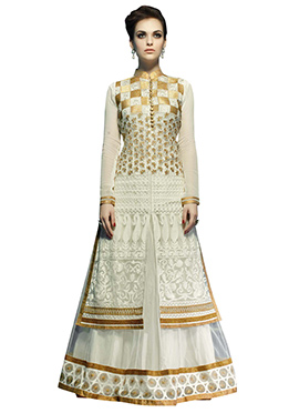 Off White Georgette N Net A Line Lehenga