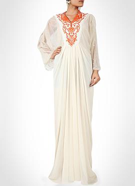 Off White Georgette N Net Kaftan Dress