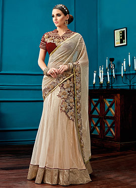 Off White Georgette Net Lehenga Saree