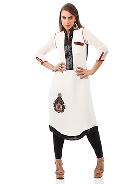 Off White Georgette Plus Size Kurti