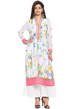 Off White Georgette Printed Long Kurti