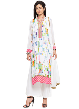Off White Georgette Printed Palazzo Suit