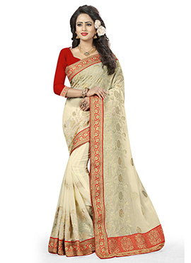Off White Georgette Saree