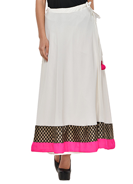 Off White Georgette Skirt
