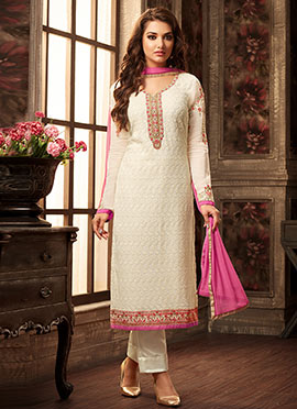Off White Georgette Straight Suit