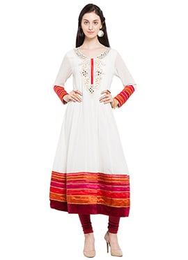 Off White Hand Embroidered Anarkali Kurti