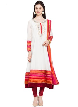 Off White Hand Embroidered Anarkali Suit