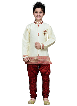 Off White Hand Work Breeches Style Boys Sherwani