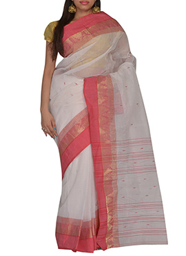 Off White Hand Woven Bengal Cotton Saree