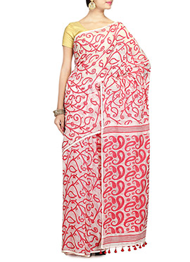 Off White Art Silk Cotton Jamdani Saree
