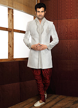 Off White Indowestern Sherwani Suit