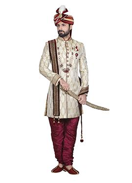 Off White Jacquard Breeches Style Sherwani