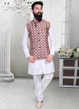 Off White Jacquard Geometric Designed Nehru Jacket