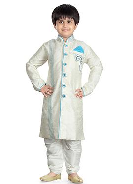 Off White Jacquard Kids Kurta Pyjama