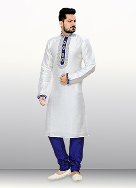 Off White Jacquard N Embellished Kurta Pyjama