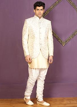 Off White Jodhpuri Style Indowestern Sherwani